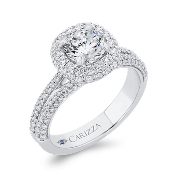 18K White Gold Round Diamond Double Halo Engagement Ring with Split Shank (Semi-Mount)
