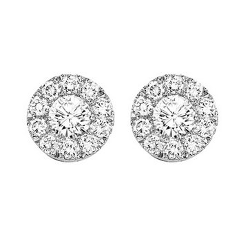 14K Diamond Cluster Earrings 1/4 ctw Round