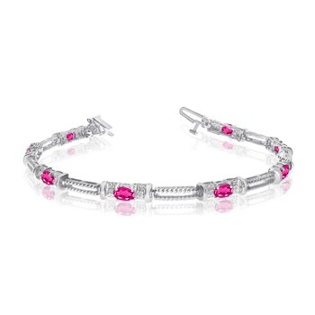 10k White Gold Natural Pink-Topaz And Diamond Tennis Bracelet