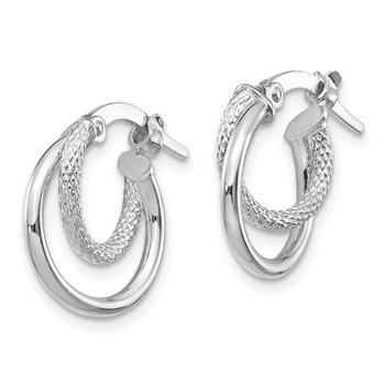 14K White Gold Polished & D/C Hinged Hoop Earrings