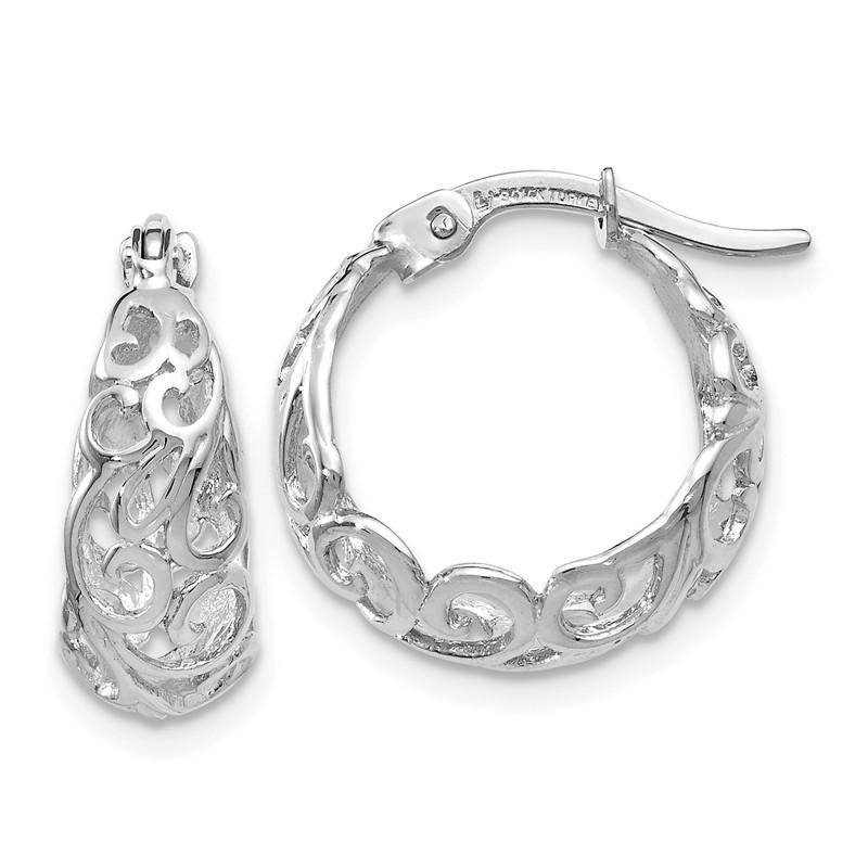 Leslies Real 14kt White Gold Polished Hoop Earrings