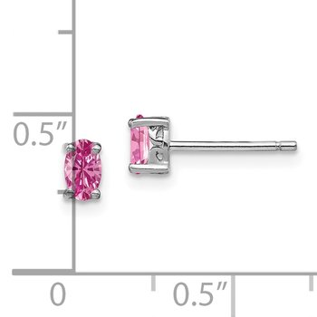Sterling Silver Rhodium-plated 5x3mm Oval Created Pink Sapphire Post Earrin