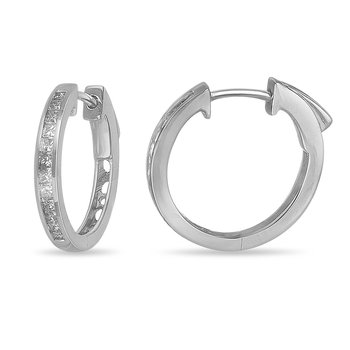 14K WG Diamond Hoops and Huggies Earring. Princess shape in channel setting