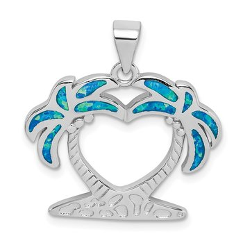 Sterling Silver Rhodium-plated Created Blue Opal Palm Trees Pendant