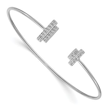 14k White Gold Diamond Flexible Cuff Bangle