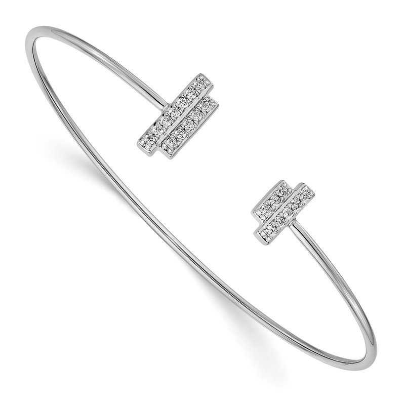 Quality Gold 14k White Gold Diamond Flexible Cuff Bangle