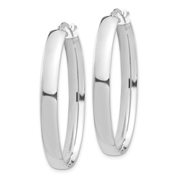 14k White Gold High Polished 5mm Oval Hoop Earrings