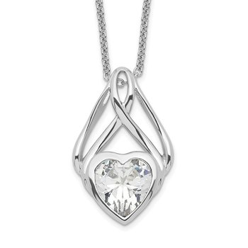 Sterling Silver & CZ Wrapped Around My Heart 18in Necklace