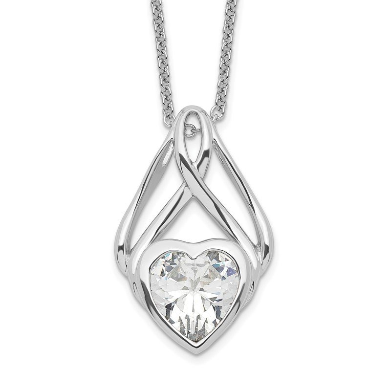 Quality Gold Sterling Silver & CZ Wrapped Around My Heart 18in Necklace
