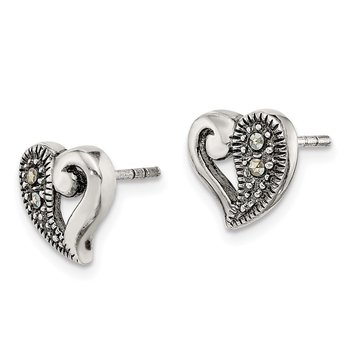 Sterling Silver Antiqued Marcasite Heart Earrings