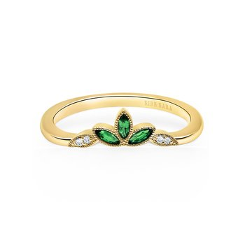Green Tsavorite Diamond Wedding Band