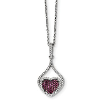 Sterling Silver Red & White CZ Brilliant Embers Polished Heart Necklace