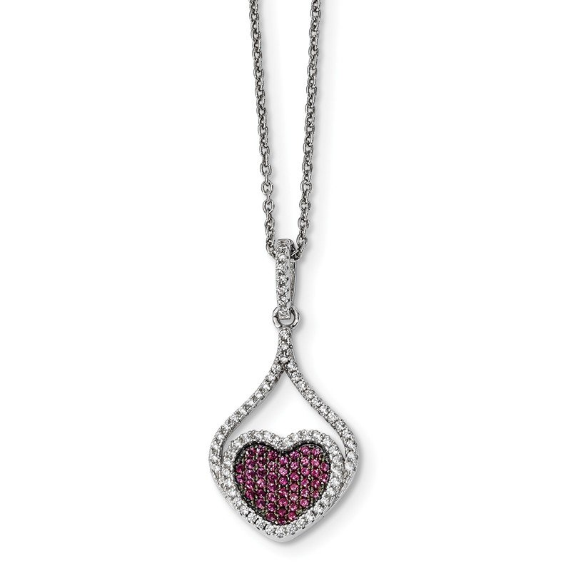 Quality Gold Sterling Silver Red & White CZ Brilliant Embers Polished Heart Necklace