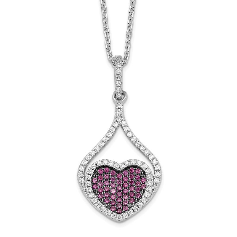 Quality Gold SS Rhodium-Plated Red&White CZ Brilliant Embers Heart Necklace