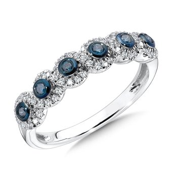 Pave set,  Blue and White Diamond Row Fashion Ring set in 10k White Gold (1/3 ct. tw.)