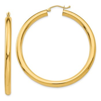 14K Polished 4mm Lightweight Tube Hoop Earrings