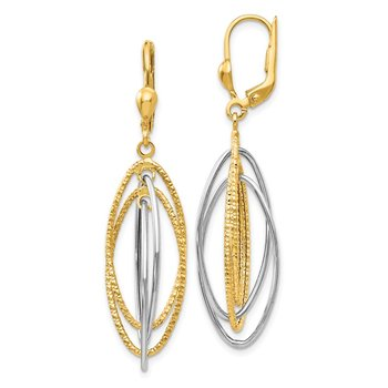 14K Two-Tone Textured and Polished Dangle Leverback Earrings