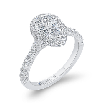 18K White Gold Pear Diamond Halo Engagement Ring (Semi-Mount)