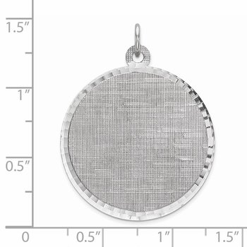 Sterling Silver Rhod-plated Eng. Rnd Patterned Polish Front/Satin Back Disc