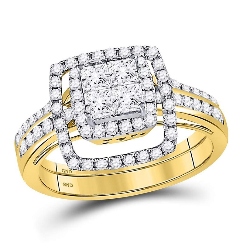 Gold-N-Diamonds, Inc. (Atlanta) 14kt Yellow Gold Womens Princess Diamond Cluster Bridal Wedding Engagement Ring 1.00 Cttw