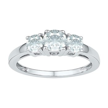 10kt White Gold Womens Round Lab-Created White Sapphire 3-stone Ring 1-3/8 Cttw