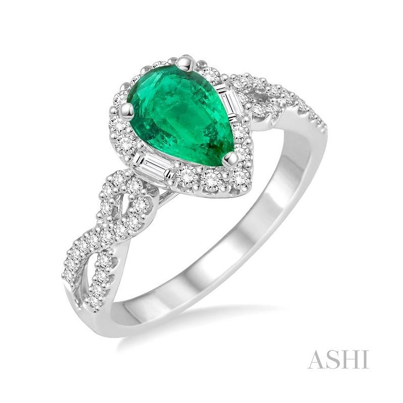 Gemstone Collection pear shape gemstone & diamond ring