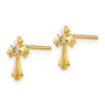14k Madi K CZ Children's Cross Post Earrings