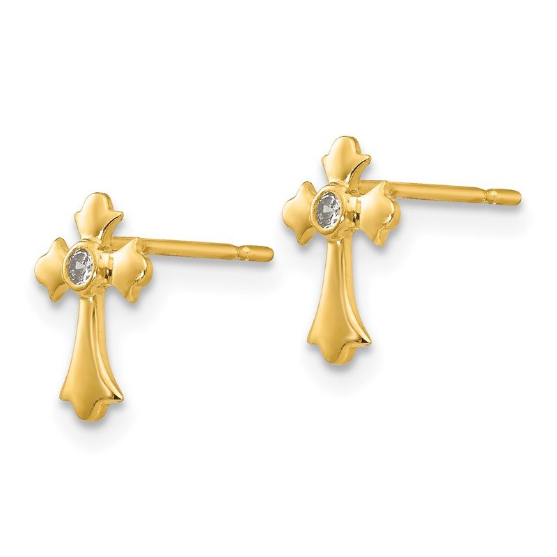 Quality Gold 14k Madi K CZ Children's Cross Post Earrings