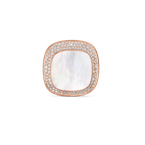 Roberto Coin 18Kt Gold Large Ring With Diamonds And Mother Of Pearl
