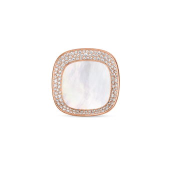 18Kt Gold Large Ring With Diamonds And Mother Of Pearl
