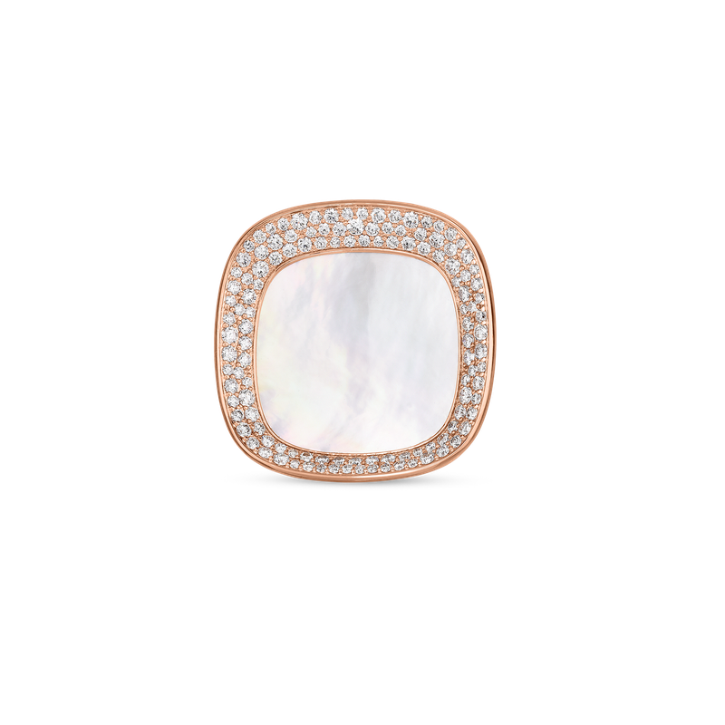 Roberto Coin Large Ring With Mother Of Pearl And Diamonds