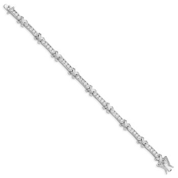 Sterling Silver Rhodium-plated CZ -X- Bracelet