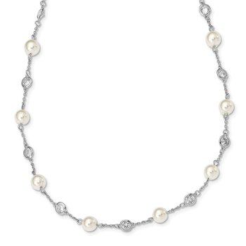 Cheryl M SS CZ & Simulated Pearl Station Necklace