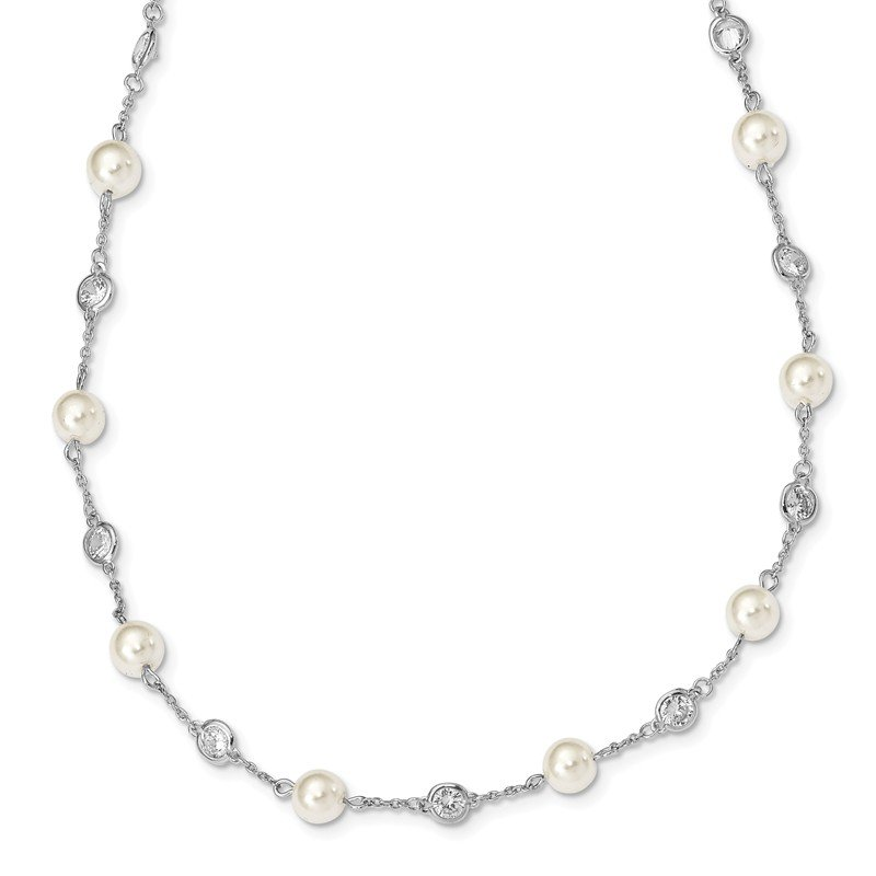 Cheryl M Cheryl M SS CZ & Simulated Pearl Station Necklace