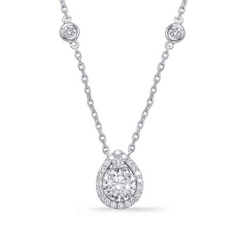 White Gold Halo Diamond By The Yard Neck