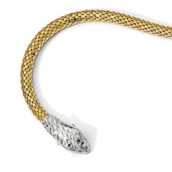 Leslie's Sterling Silver Gold-plated Adjustable Snake Bracelet