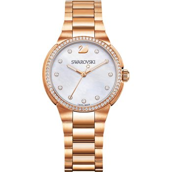 City Mini Watch, Metal bracelet, Mother-of-pearl, Rose gold tone