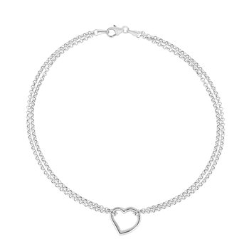 14K Gold Open Heart Anklet