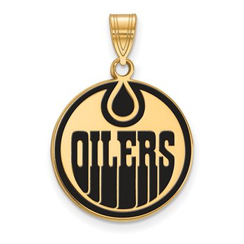 Gold-Plated Sterling Silver Edmonton Oilers NHL Pendant