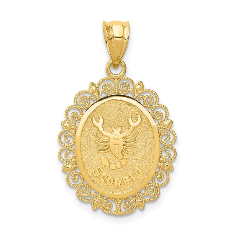 Quality Gold 14k Solid Satin Polished Scorpio Zodiac Oval Pendant