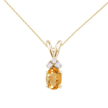 14K Yellow Gold Oval Citrine and Diamond