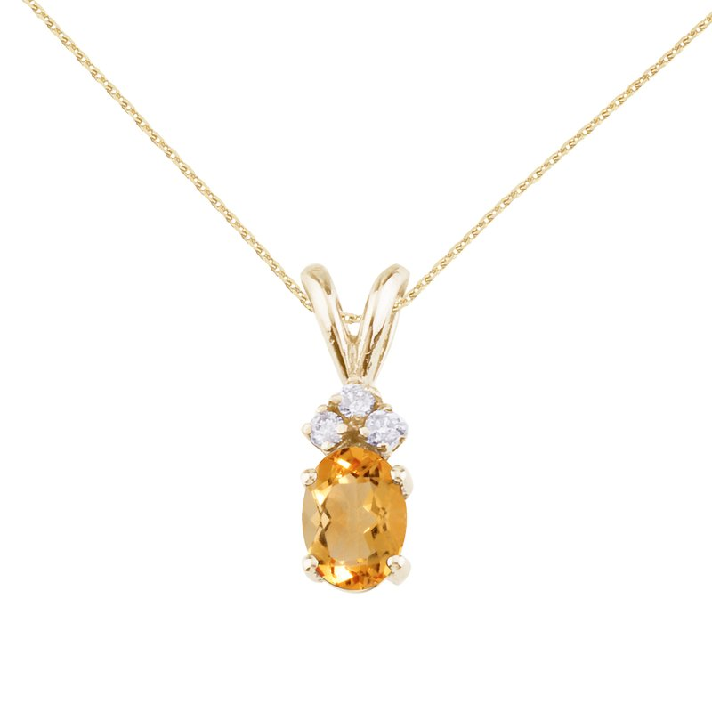 Color Merchants 14K Yellow Gold Oval Citrine and Diamond