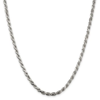 Sterling Silver Rhodium-plated 3.5mm Diamond-cut Rope Chain