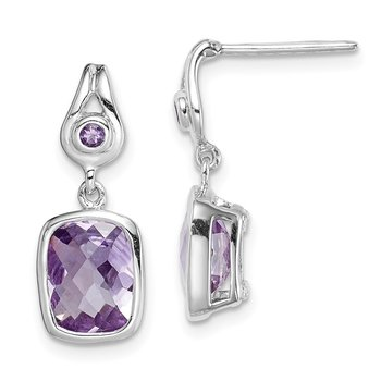 Sterling Silver Rhod-plat Checkerboard Amethyst Dangle Earrings
