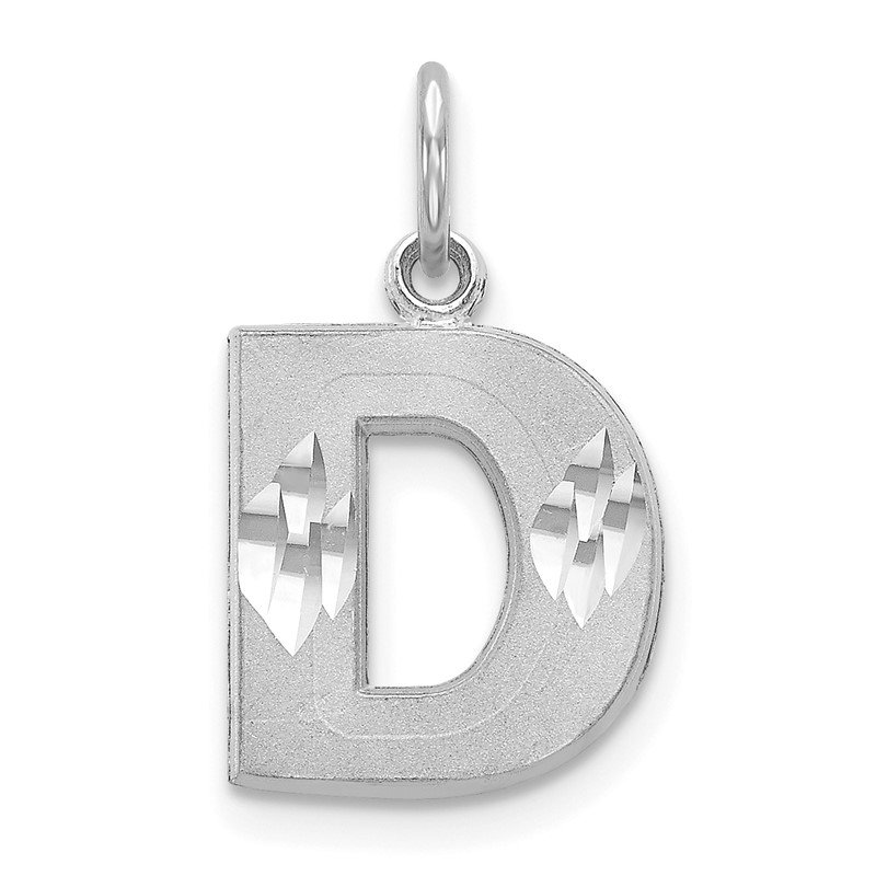 Quality Gold 14KW Satin Diamond-cut Letter D Initial Charm