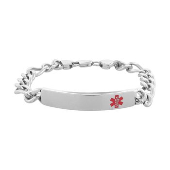 Polish Finished in Red Caduceus Medical Alert Symbol Engravable Bracelet