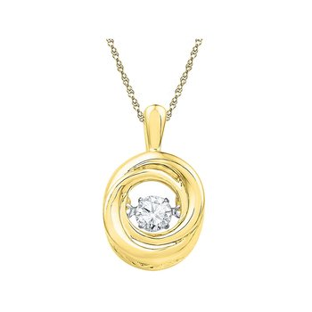 10kt Yellow Gold Womens Round Diamond Twinkle Moving Solitaire Pendant 1/4 Cttw