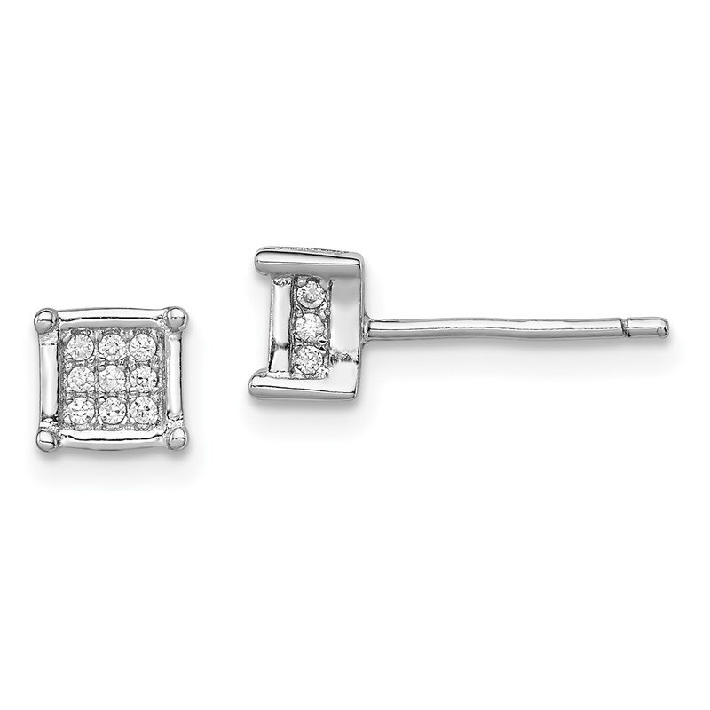 Quality Gold Sterling Silver Rhodium-plated Polished CZ Square Post Earrings