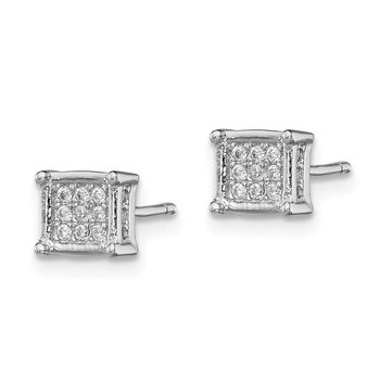 Sterling Silver Rhodium-plated Polished CZ Square Post Earrings