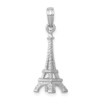 14k White Gold Solid Polished 3-D Eiffel Tower Charm